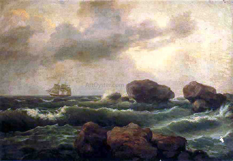 Thomas Birch Seascape at Sunset - Hand Painted Oil Painting