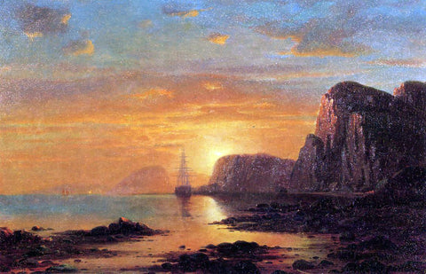 William Bradford Seascape: Cliffs at Sunset - Hand Painted Oil Painting