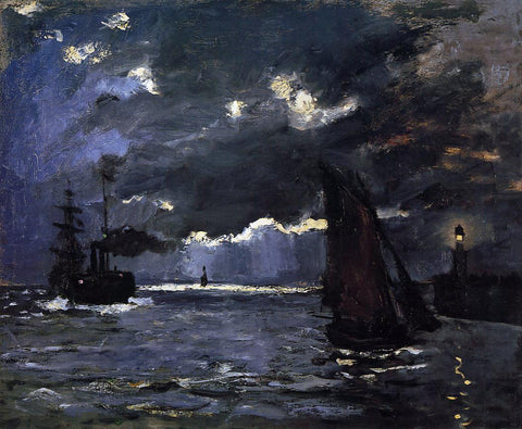 Claude Oscar Monet Seascape, Night Effect - Hand Painted Oil Painting