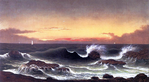 Martin Johnson Heade Seascape: Sunrise - Hand Painted Oil Painting