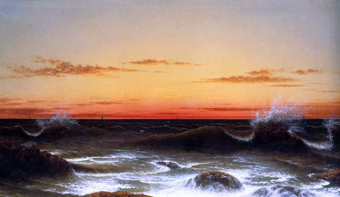 Martin Johnson Heade Seascape: Sunset - Hand Painted Oil Painting