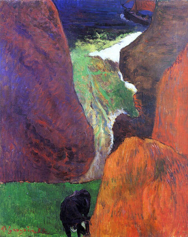 Paul Gauguin Seascape with Cow on the Edge of a Cliff - Hand Painted Oil Painting