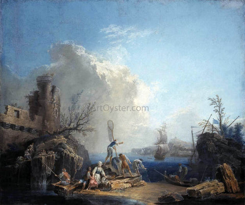 Pierre-Jacques Volaire Seascape with Fisherman on a Rocky Shore - Hand Painted Oil Painting