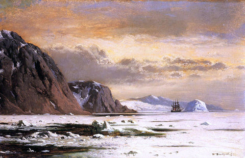 William Bradford Seascape with Icebergs - Hand Painted Oil Painting