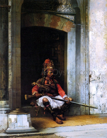 Stanislaus Poraj Chlebowski Seated Bashi-Bazouk with a Rifle - Hand Painted Oil Painting