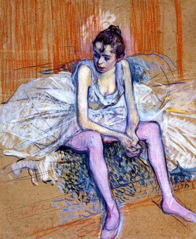 Henri De Toulouse-Lautrec Seated Dancer in Pink Tights - Hand Painted Oil Painting