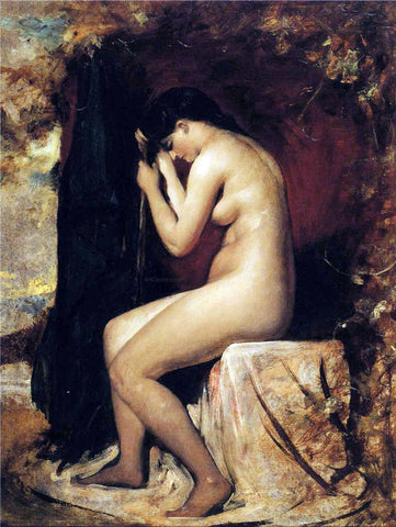 William Etty Seated Female Nude - Hand Painted Oil Painting