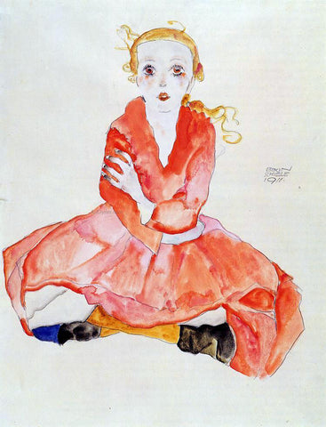 Egon Schiele Seated Girl Facing Front - Hand Painted Oil Painting