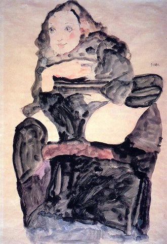 Egon Schiele Seated Girl with Raised Left Leg - Hand Painted Oil Painting