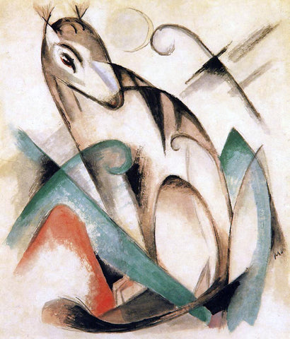 Franz Marc Seated Mythical Animal - Hand Painted Oil Painting