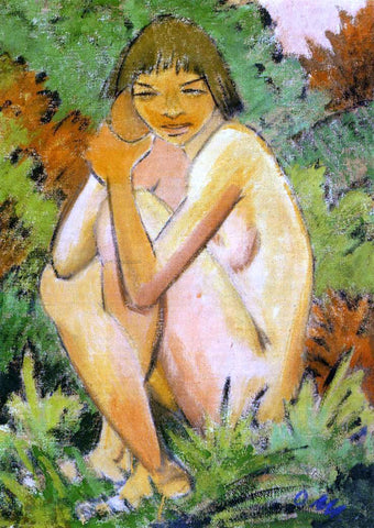 Otto Mueller Seated Nude in the Countryside - Hand Painted Oil Painting