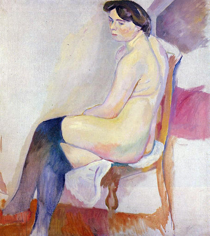 Jules Pascin Seated Nude with Black Stockings - Hand Painted Oil Painting