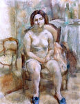 Jules Pascin Seated Nude with Blue Slippers - Hand Painted Oil Painting
