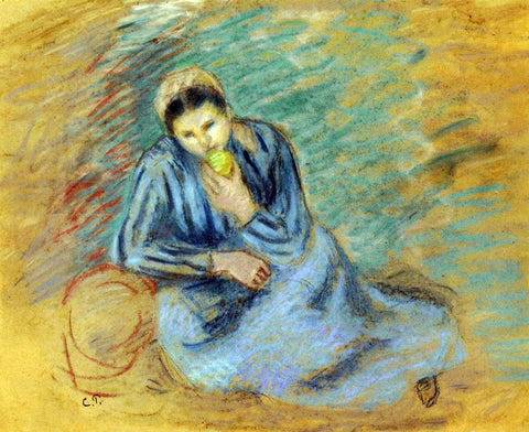 Camille Pissarro Seated Peasant Woman Crunching an Apple - Hand Painted Oil Painting