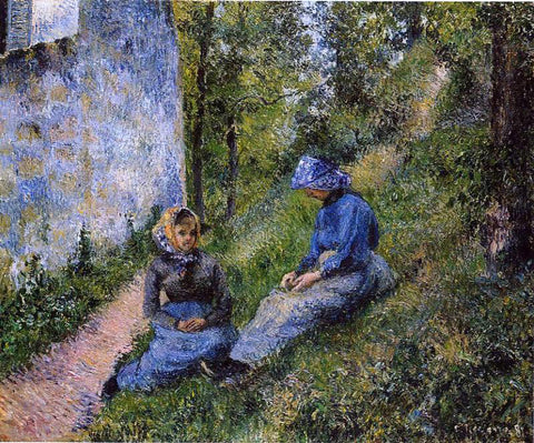 Camille Pissarro Seated Peasants, Sewing - Hand Painted Oil Painting