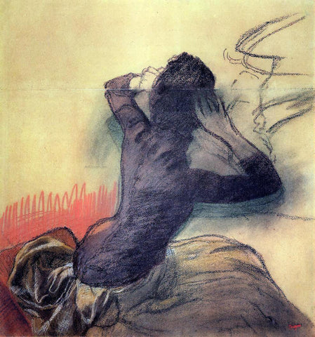 Edgar Degas Seated Woman Adjusting Her Hair - Hand Painted Oil Painting
