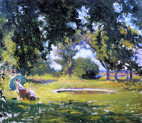 Edmund Tarbell Seated Woman by a Pond (also known as My Wife in a Garden) - Hand Painted Oil Painting