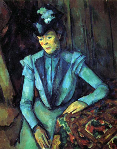 Paul Cezanne Seated Woman in Blue - Hand Painted Oil Painting
