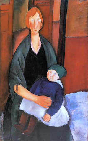Amedeo Modigliani Seated Woman with Child (also known as Motherhood) - Hand Painted Oil Painting