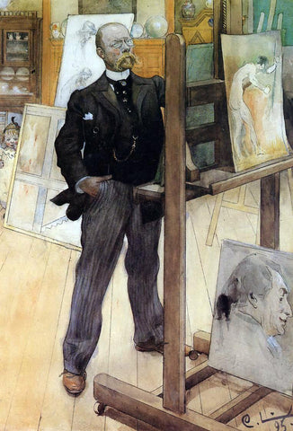 Carl Larsson A Self Portrait - Hand Painted Oil Painting