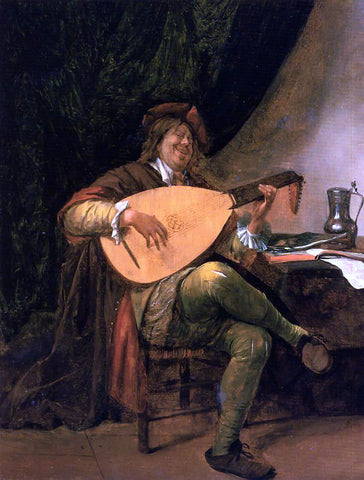 Jan Steen Self Portrait as a Lutenist - Hand Painted Oil Painting