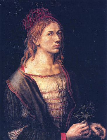 Albrecht Durer Self Portrait at 22 - Hand Painted Oil Painting