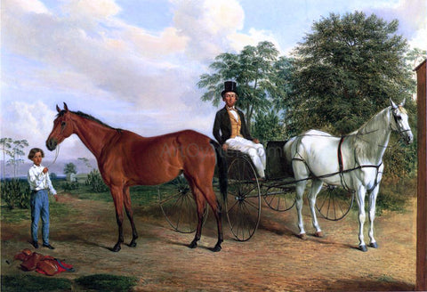 Edward Troye Self Portrait in a Carriage - Hand Painted Oil Painting