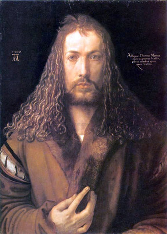 Albrecht Durer Self Portrait in a Fur-Collard Robe - Hand Painted Oil Painting