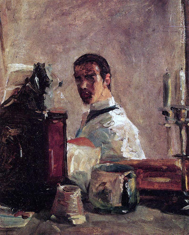 Henri De Toulouse-Lautrec Self Portrait in front of a Mirror - Hand Painted Oil Painting