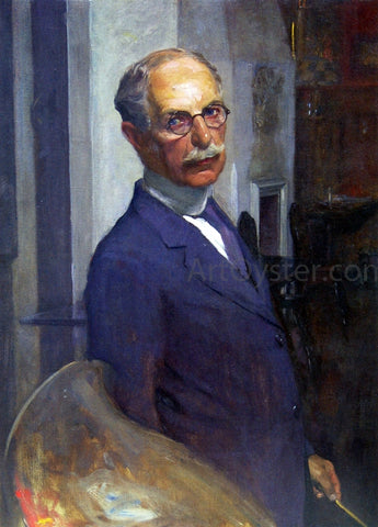 Ignaz Marcel Gaugengigl Self Portrait in the Artist's Studio - Hand Painted Oil Painting