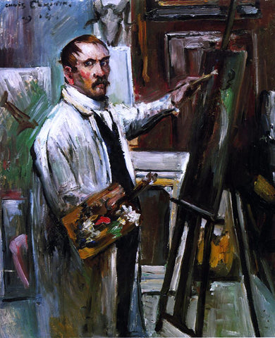 Lovis Corinth Self Portrait in the Studio - Hand Painted Oil Painting