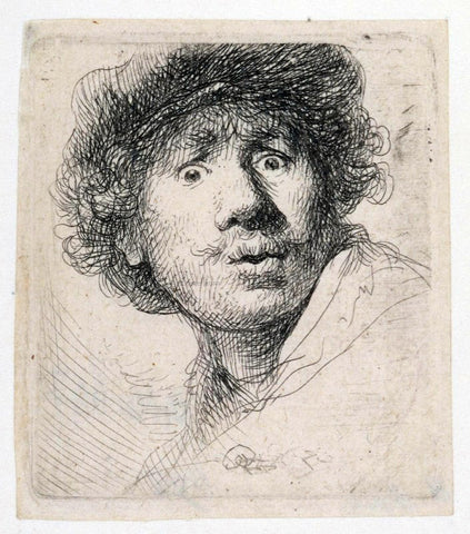 Rembrandt Van Rijn Self Portrait with a Cap, Openmouthed - Hand Painted Oil Painting