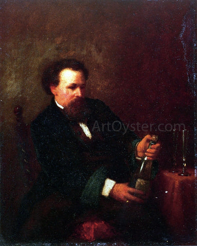 Eastman Johnson Self Portrait with Bottle of Champagne - Hand Painted Oil Painting