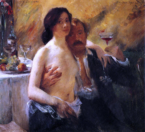 Lovis Corinth Self Portrait with Charlotte Berend and a Glass of Champagne - Hand Painted Oil Painting