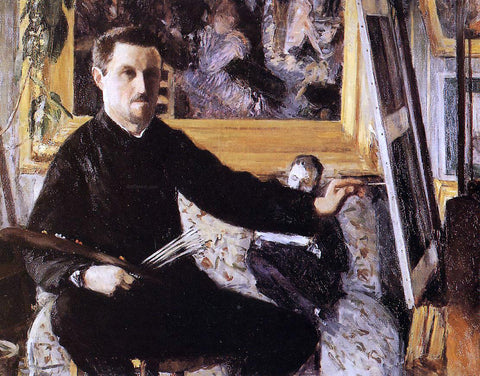Gustave Caillebotte Self Portrait with Easel - Hand Painted Oil Painting