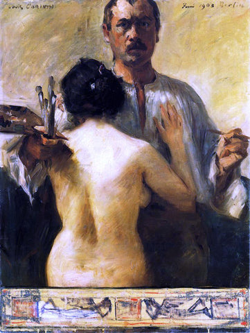Lovis Corinth Self Portrait with Model - Hand Painted Oil Painting
