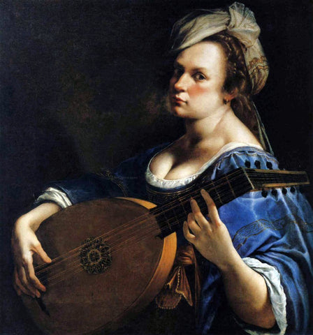 Artemisia Gentileschi Self-Portrait as a Lute Player - Hand Painted Oil Painting