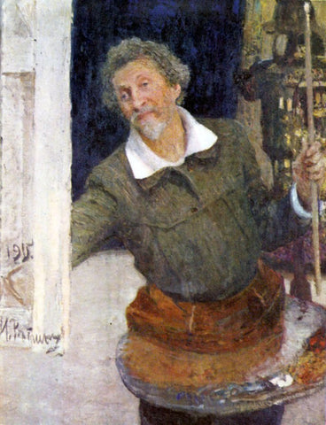 Ilia Efimovich Repin Self-portrait at work - Hand Painted Oil Painting