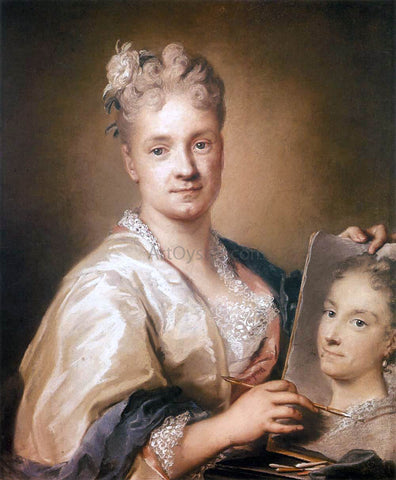 Rosalba Carriera Self-Portrait Holding a Portrait of Her Sister - Hand Painted Oil Painting