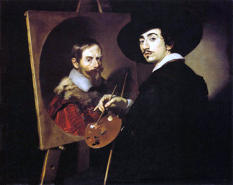 Nicolas Regnier Self-Portrait with a Portrait on an Easel - Hand Painted Oil Painting