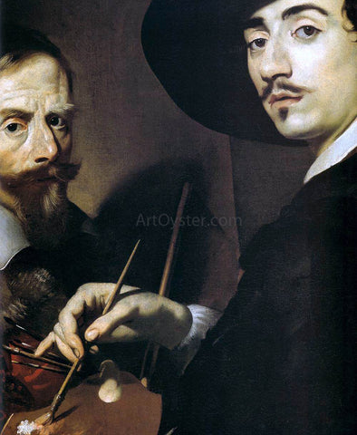 Nicolas Regnier Self-Portrait with a Portrait on an Easel (detail) - Hand Painted Oil Painting