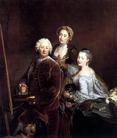 Antoine Pesne Self-Portrait with Daughters - Hand Painted Oil Painting