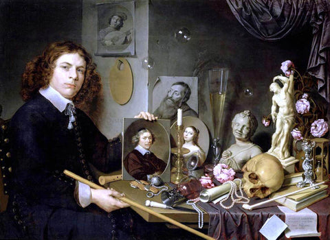 David Bailly Self-Portrait with Vanitas Symbols - Hand Painted Oil Painting