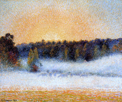 Camille Pissarro Setting Sun and Fog, Eragny - Hand Painted Oil Painting