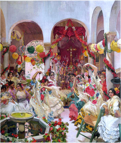 Joaquin Sorolla Y Bastida Seville, the Dance - Hand Painted Oil Painting