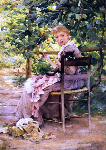 Francis Coates Jones Sewing in the Garden - Hand Painted Oil Painting