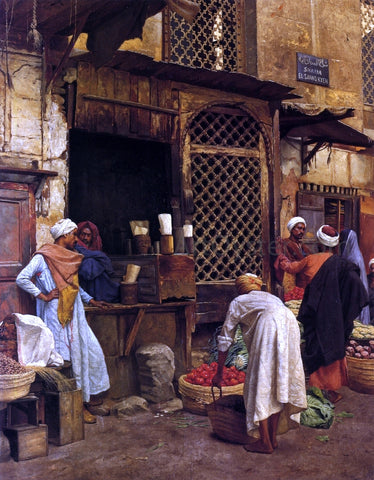 Ludwig Deutsch Sharia El-Sanadkyeh - Hand Painted Oil Painting