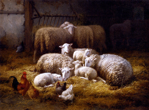 Theo Van Sluys Sheep And Chickens In A Farm Interior - Hand Painted Oil Painting