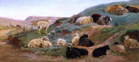 Rosa Bonheur Sheep in a Mountainous Landscape - Hand Painted Oil Painting
