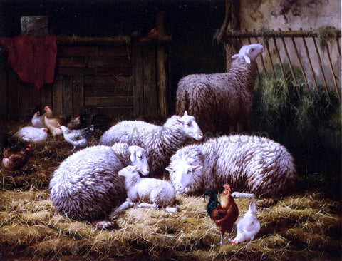 Theo Van Sluys Sheep, Roosters and Chickens in a Barn - Hand Painted Oil Painting